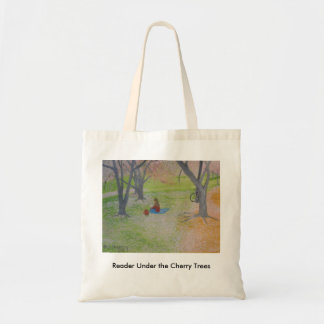 Reader Under the Cherry Trees Tote Bag