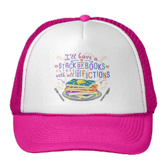 Readers Humor Stack of Books with Fictions Cute Trucker Hat