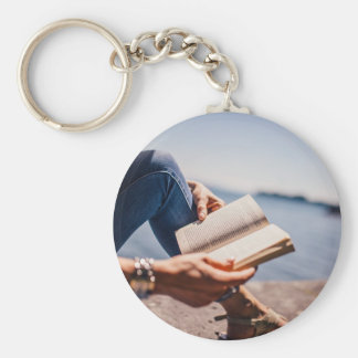 Reading A Book At The Lake Keychain