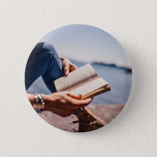 Reading A Book At The Lake Pinback Button