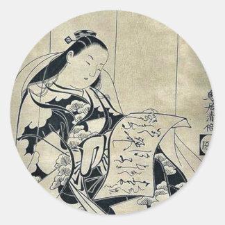 Reading a love letter by Torii Kiyomasu d Round Sticker