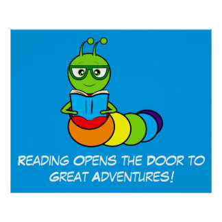Reading Adventures with Cartoon Bookworm Poster