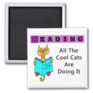 Reading, All The Cool Cats Are Doing It 2 Inch Square Magnet