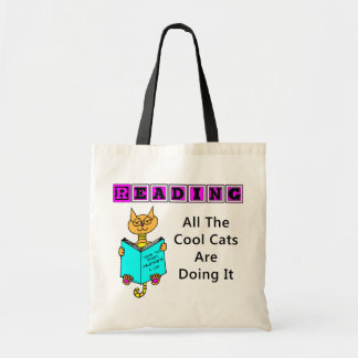 Reading, All The Cool Cats Are Doing It Canvas Bag
