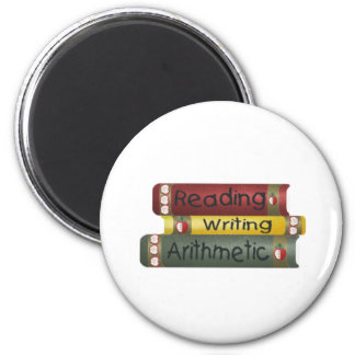 Reading and Writing and Arithmetic 2 Inch Round Magnet