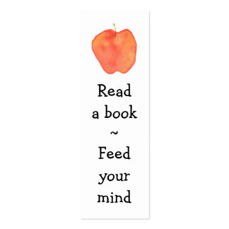 Reading Apple Mini Bookmark - Double-Sided Mini Business Cards (Pack Of 20)
