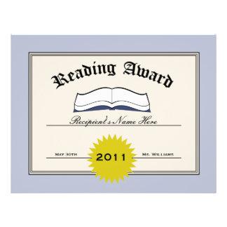Reading Award Certificate Custom Color Background Letterhead