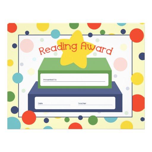 Reading Award Certificate Polka Dots Book Amp Star