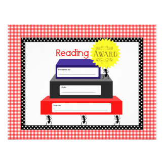 Reading  Award Certificate - Red Gingham With Ants Letterhead