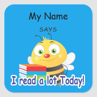 Reading Bee - I read a lot today! Square Sticker