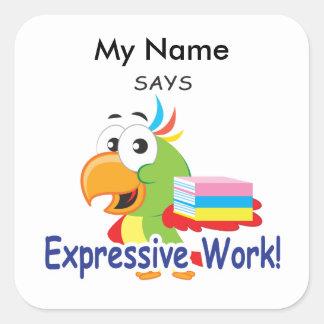 Reading Bird- Expressive Work! Square Sticker