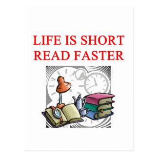 reading book lover postcard