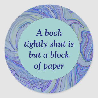 reading books proverb classic round sticker