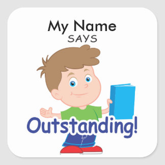 Reading Boy - Outstanding Square Sticker
