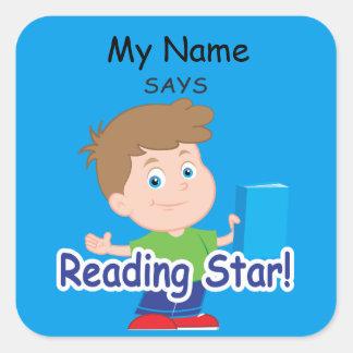 Reading Boy - Reading Star! Square Sticker