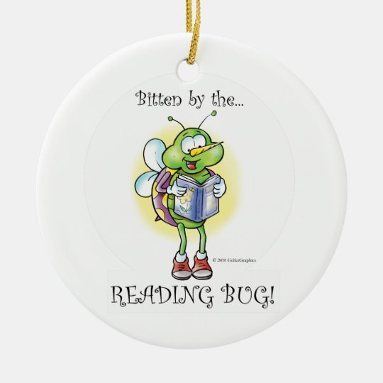 READING BUG CERAMIC ORNAMENT