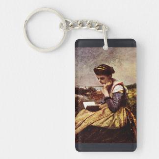 Reading By The Lake Single-Sided Rectangular Acrylic Keychain