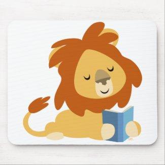 Reading Cartoon Lion mousepad mousepad