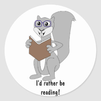Reading Cartoon Squirrel Sticker
