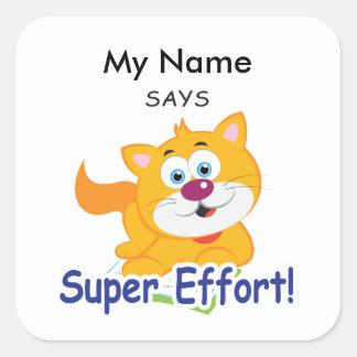 Reading Cat - Super Effort! Square Sticker