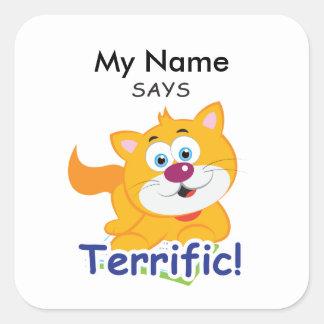 Reading Cat - Terrific Square Sticker