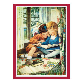 Reading Christmas Books Jessica Willcox Smith Postcard