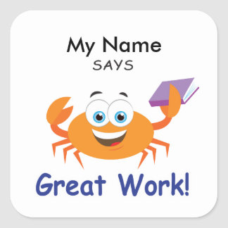 Reading Crab - Great Work! Square Sticker