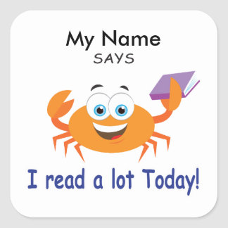 Reading Crab - I Read A Lot Today! Square Sticker