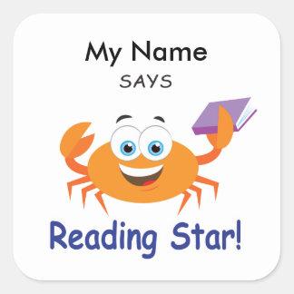 Reading Crab - Reading Star! Square Sticker