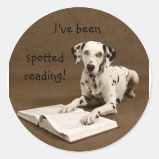 reading dalmatian round stickers