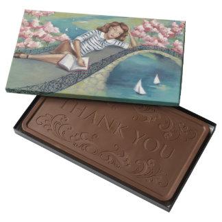 Reading Girl Customizable Belgian Chocolate Box
