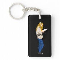 Reading Girl Keychain