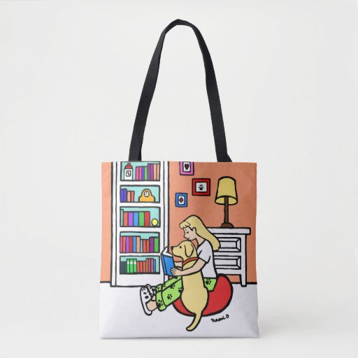 Reading Girl with a Yellow Labrador Book Bag