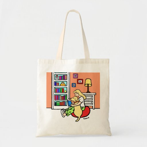 Reading Girl with a Yellow Labrador Book Tote Bag