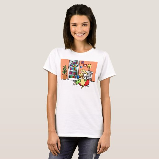 Reading Girl with a Yellow Labrador Tshirt