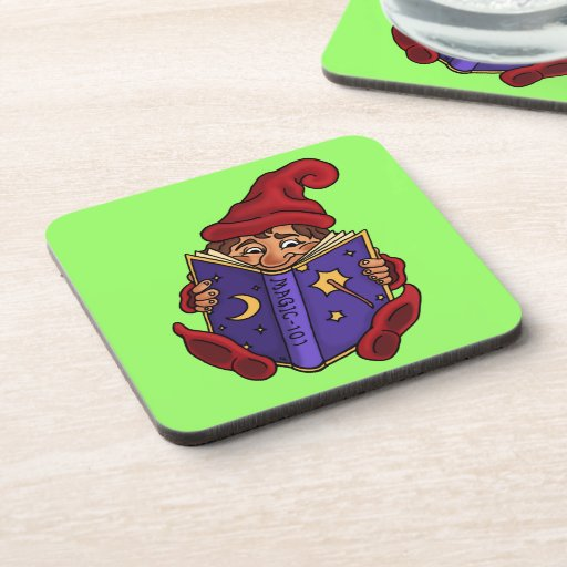 reading gnome fantasy drink coaster