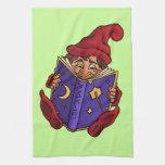 reading gnome fantasy kitchen towels