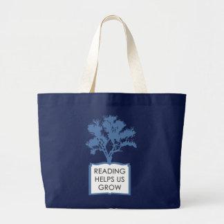 Reading Helps Us Grow Large Tote Jumbo Tote Bag