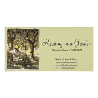 Reading in a Garden Custom Photo Card