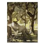 Reading in a Garden Postcard