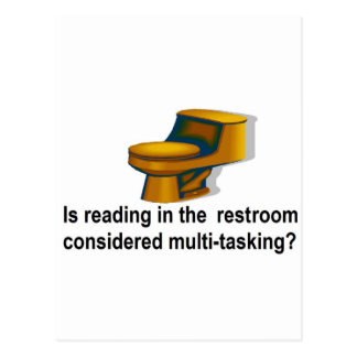 Reading in the restroom postcard