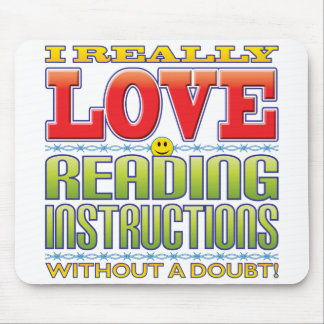 Reading Instructions Love Face Mouse Pad
