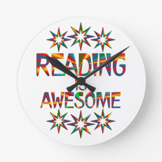 Reading is Awesome Round Clock