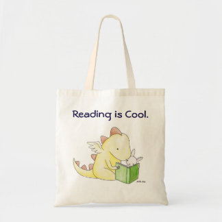 Reading is cool Dragon Bunny Library Book Literacy Budget Tote Bag