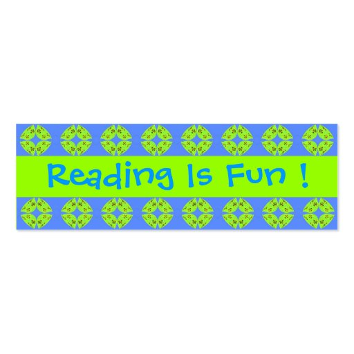 Reading Is Fun Bookmarks Business Cards