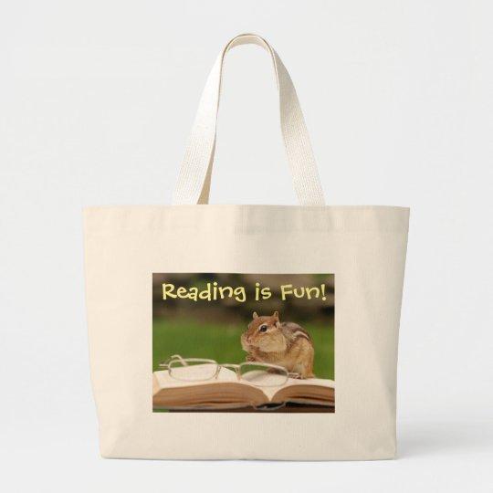 Reading is Fun Chipmunk Bookbag Large Tote Bag