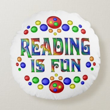 Beach Themed Reading is Fun Round Pillow