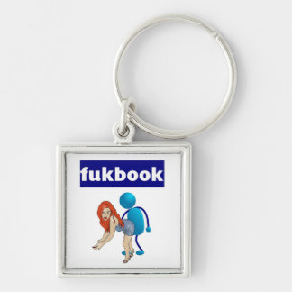 Reading is Fun! Silver-Colored Square Keychain