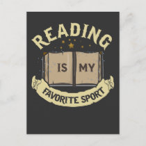 Reading Is My Favorite Sport Funny Book Reader Postcard