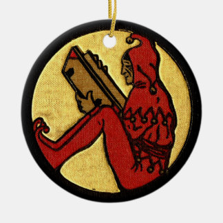 Reading Jester Double-Sided Ceramic Round Christmas Ornament